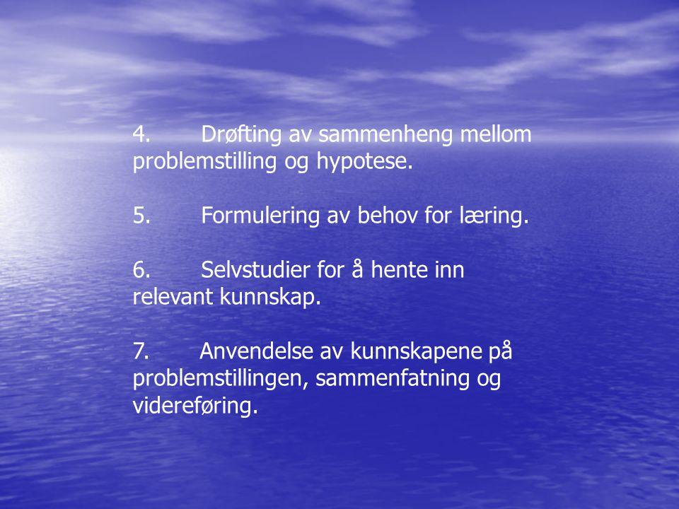 4. Drøfting av sammenheng mellom problemstilling og hypotese.