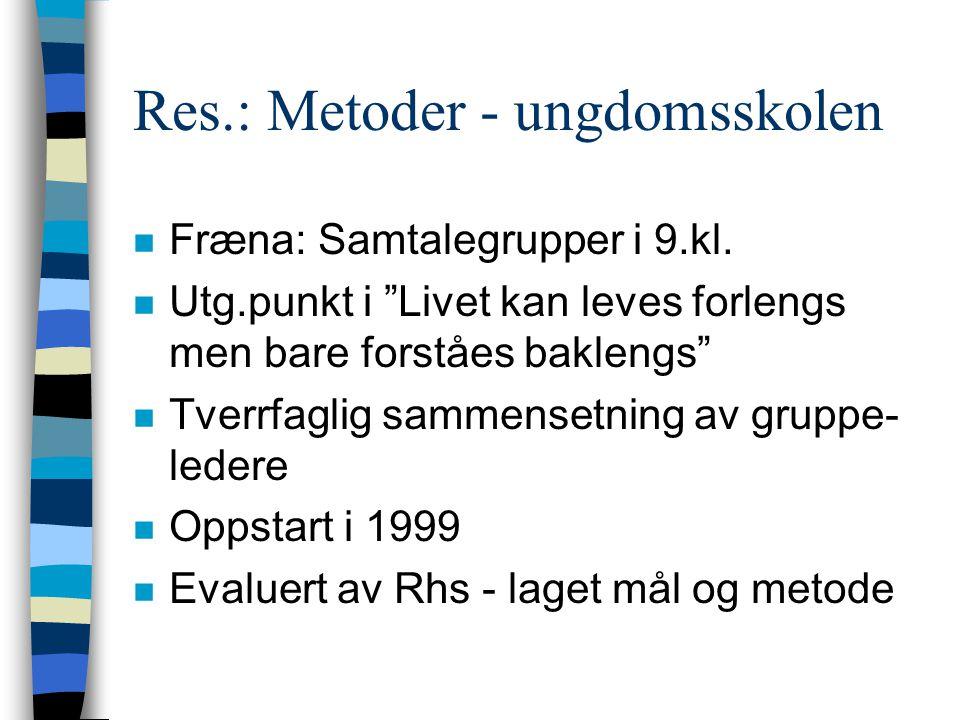 Res.: Metoder - ungdomsskolen