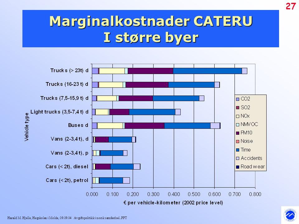 Marginalkostnader CATERU I større byer