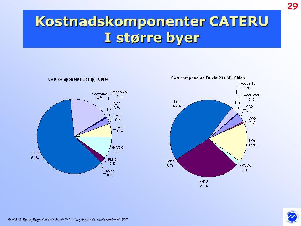 Kostnadskomponenter CATERU I større byer