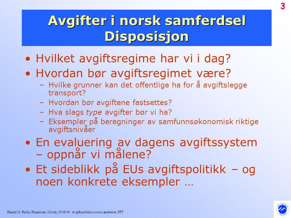 Avgifter i norsk samferdsel Disposisjon