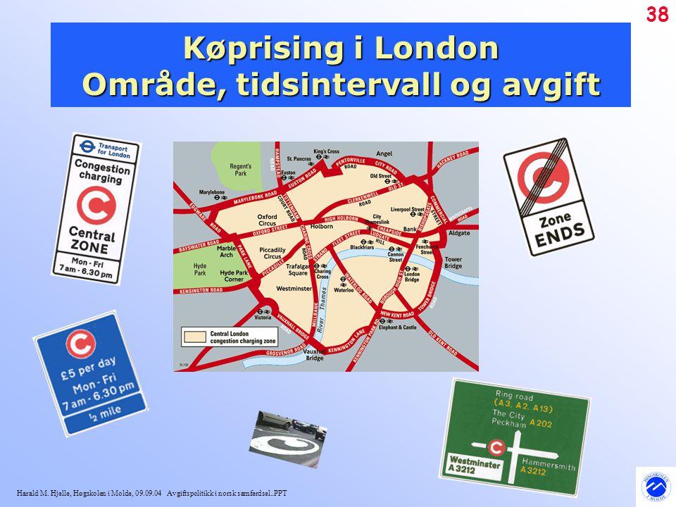 Køprising i London Område, tidsintervall og avgift