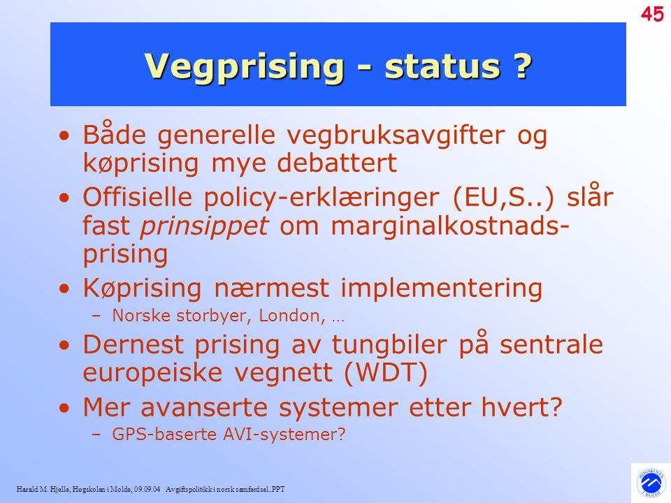 Vegprising - status Både generelle vegbruksavgifter og køprising mye debattert.