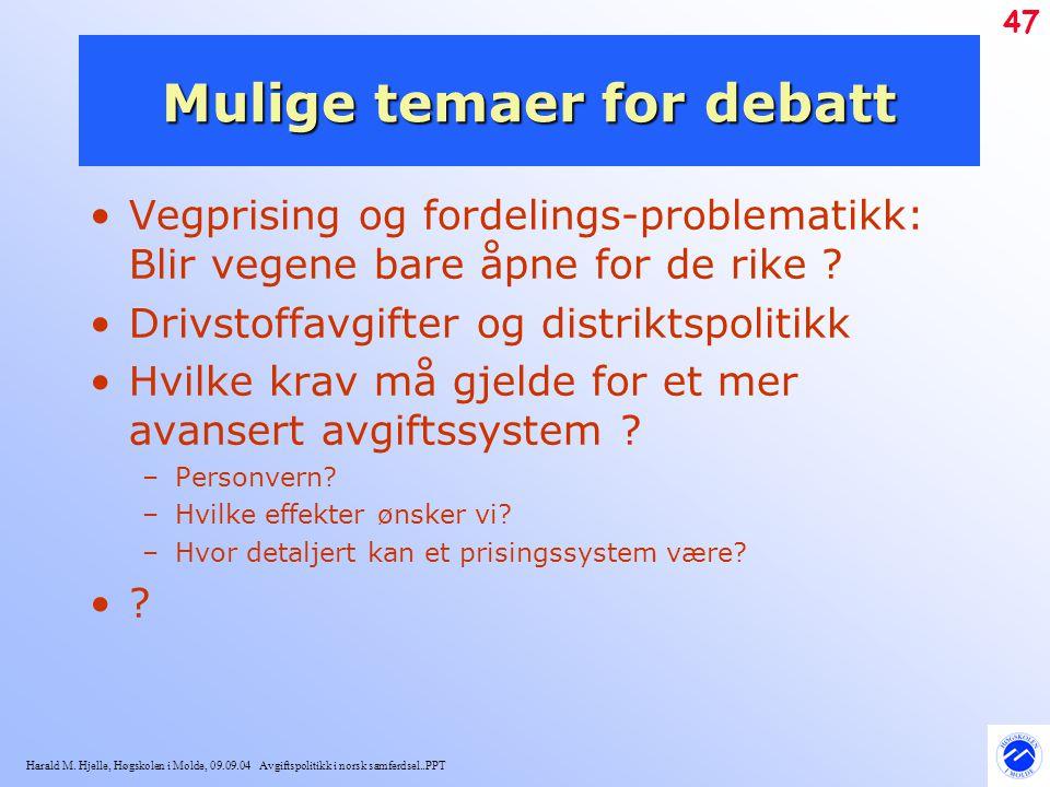 Mulige temaer for debatt