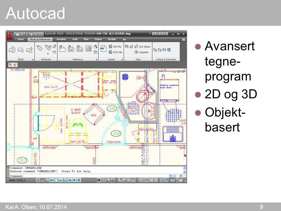 Autocad Avansert tegne-program 2D og 3D Objekt-basert