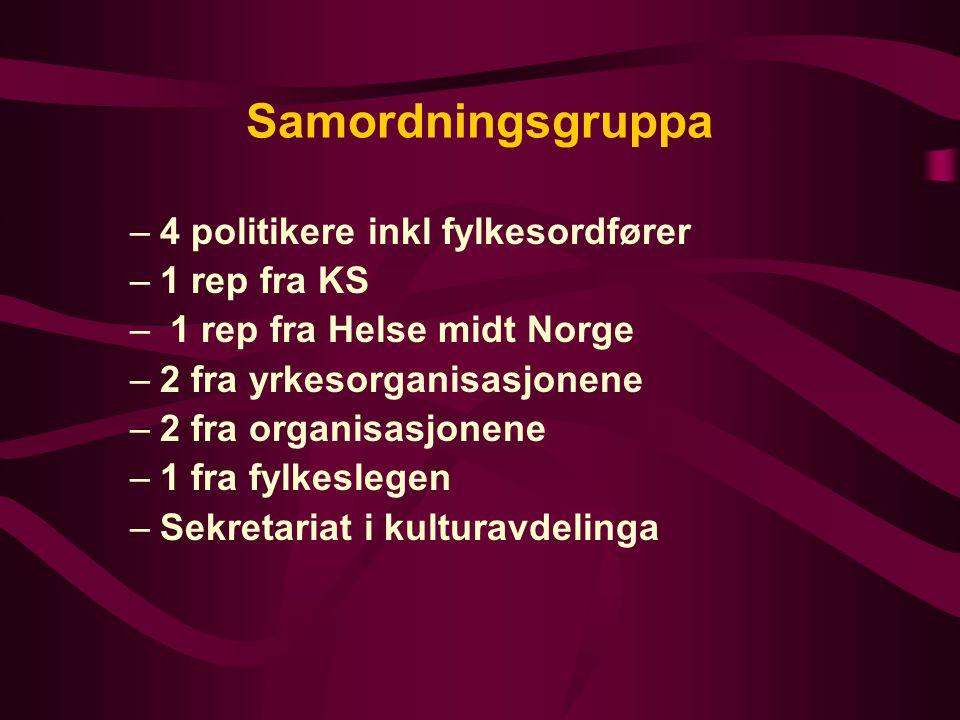 Samordningsgruppa 4 politikere inkl fylkesordfører 1 rep fra KS