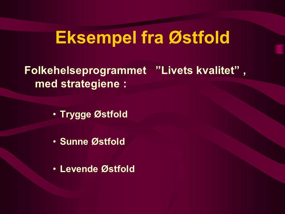 Eksempel fra Østfold Folkehelseprogrammet Livets kvalitet , med strategiene : Trygge Østfold. Sunne Østfold.
