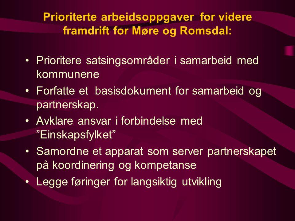 Prioriterte arbeidsoppgaver for videre framdrift for Møre og Romsdal: