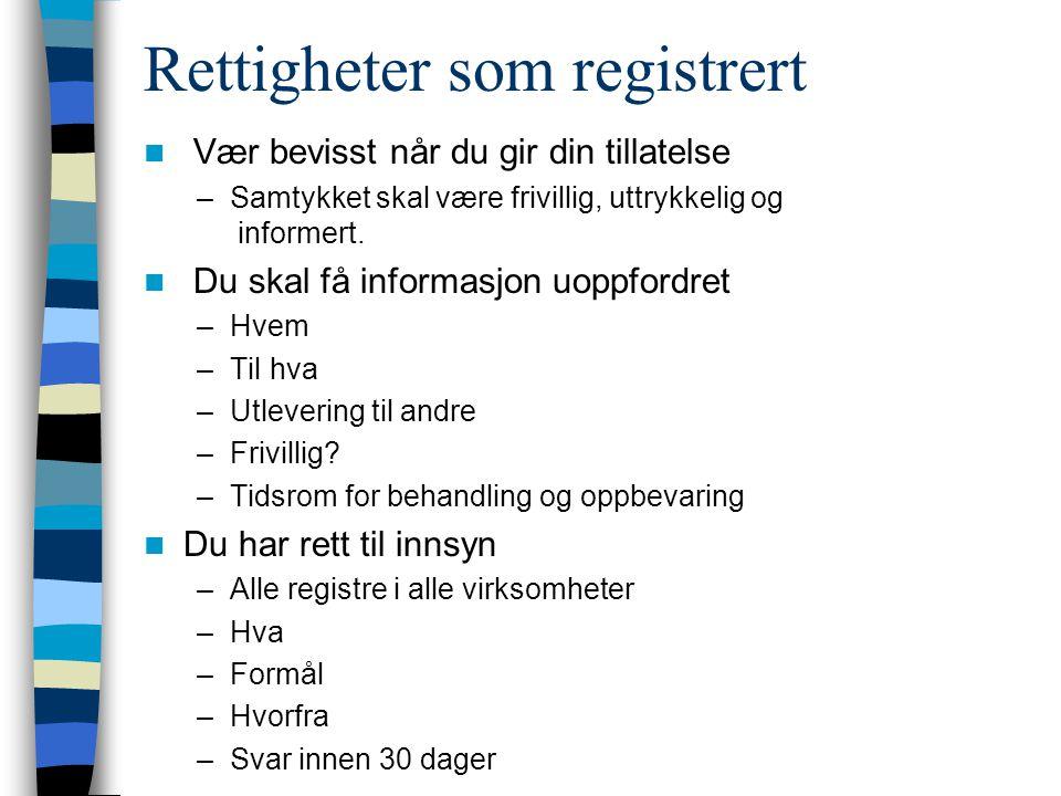 Rettigheter som registrert