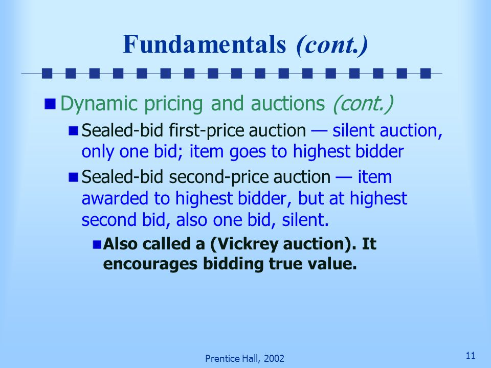 Fundamentals (cont.) Dynamic pricing and auctions (cont.)