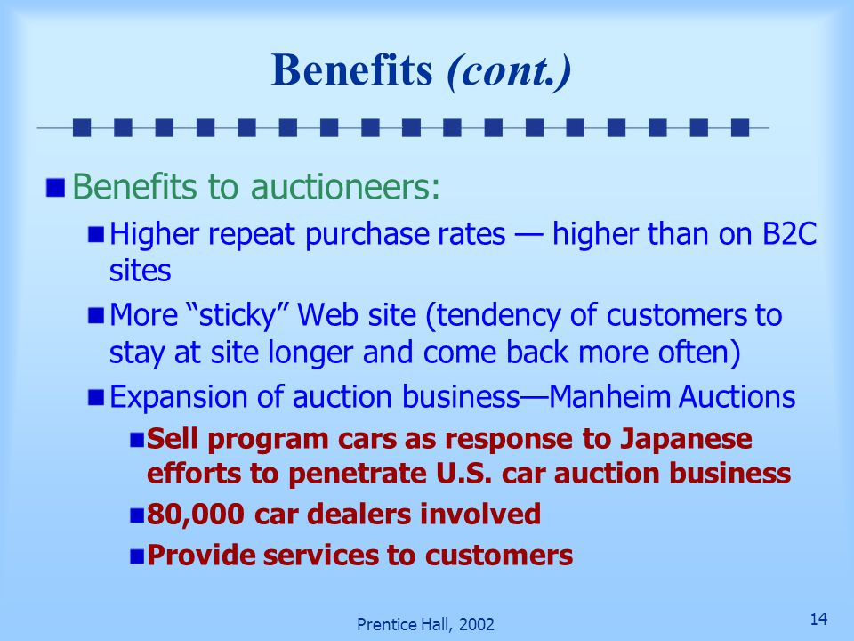 Benefits (cont.) Benefits to auctioneers: