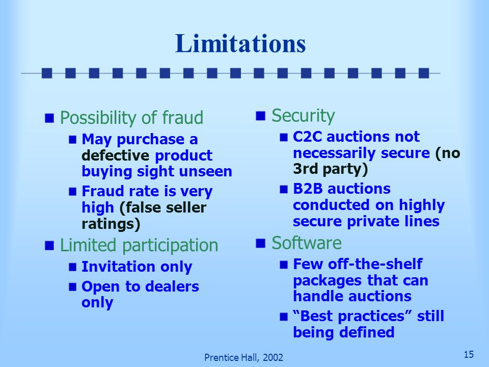 Limitations Security Possibility of fraud Software