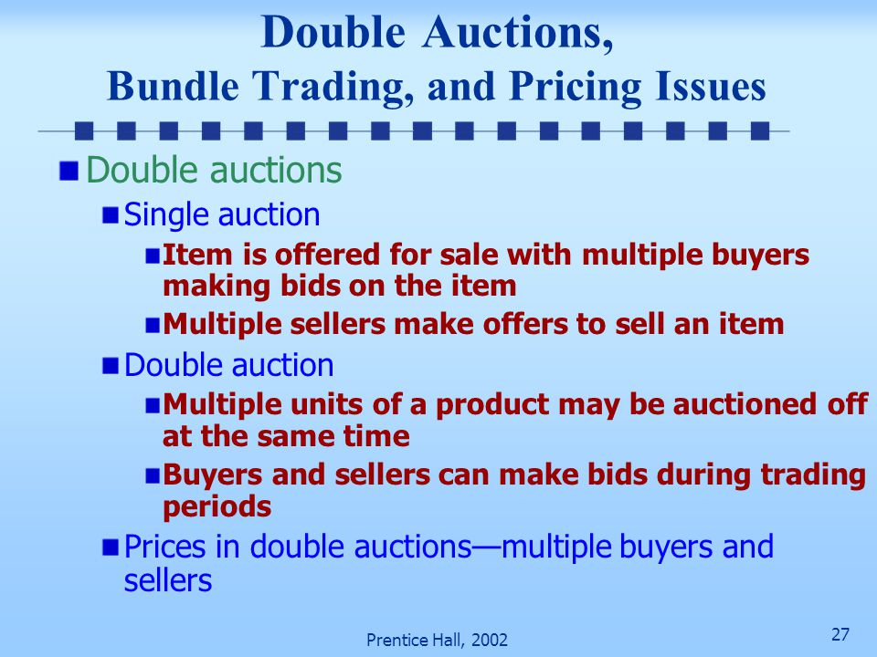 Double Auctions, Bundle Trading, and Pricing Issues