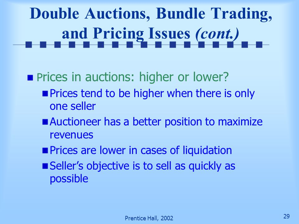 Double Auctions, Bundle Trading, and Pricing Issues (cont.)