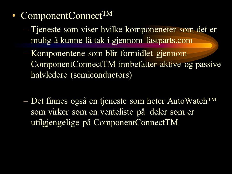 ComponentConnectTM Tjeneste som viser hvilke komponeneter som det er mulig å kunne få tak i gjennom fastparts.com.