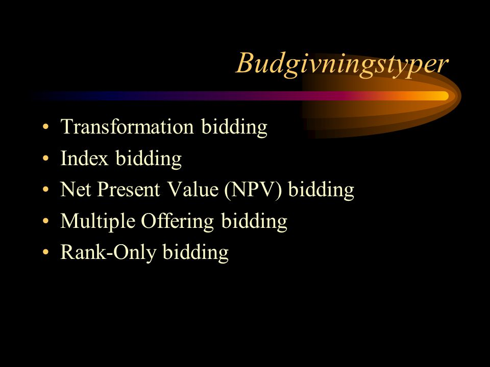 Budgivningstyper Transformation bidding Index bidding