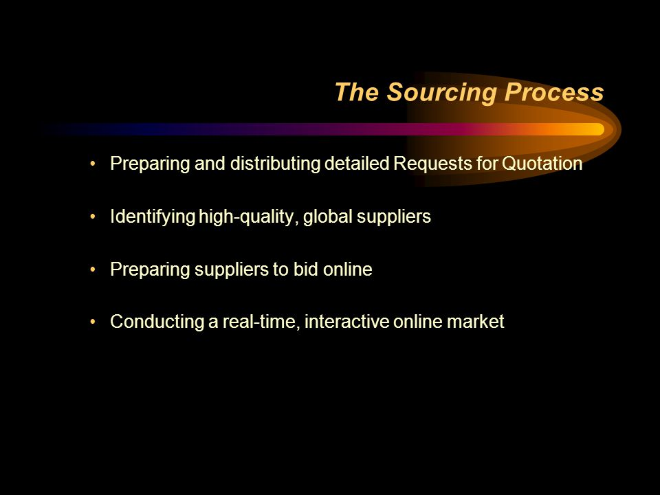 The Sourcing Process Preparing and distributing detailed Requests for Quotation. Identifying high-quality, global suppliers.