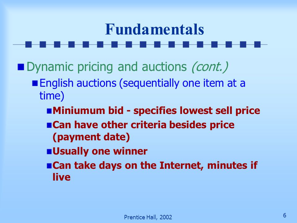 Fundamentals Dynamic pricing and auctions (cont.)