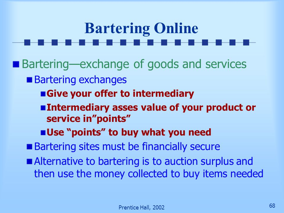 Bartering Online Bartering—exchange of goods and services