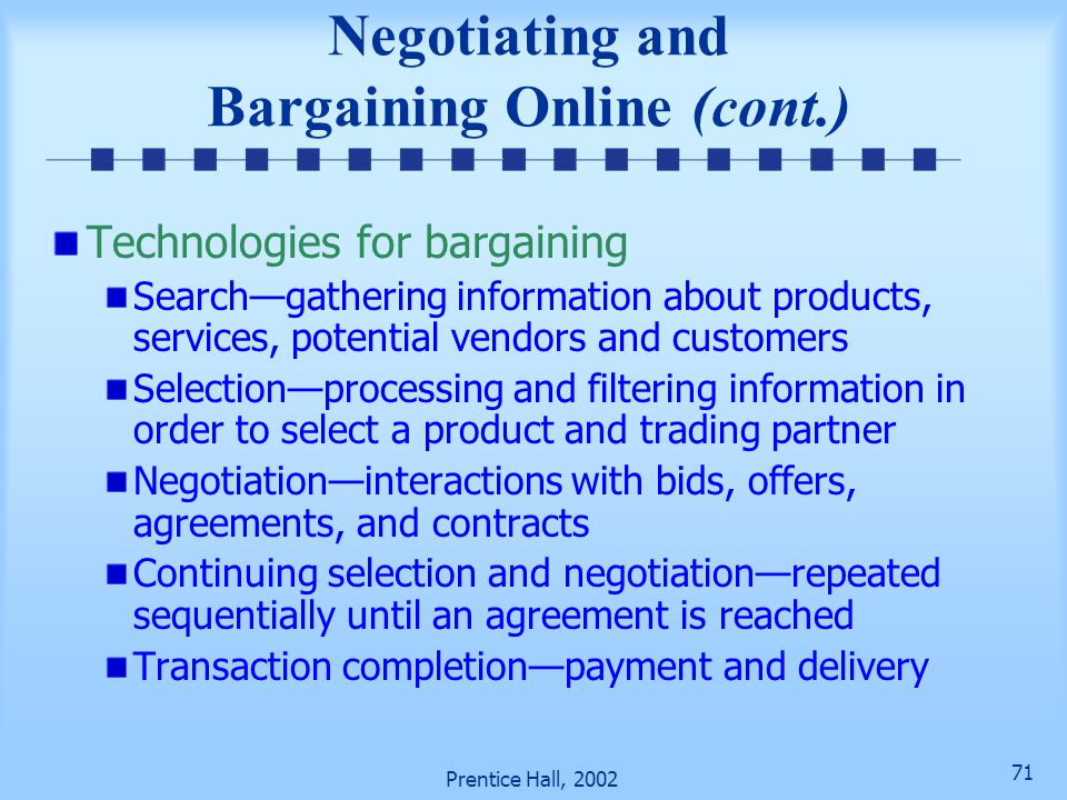 Negotiating and Bargaining Online (cont.)