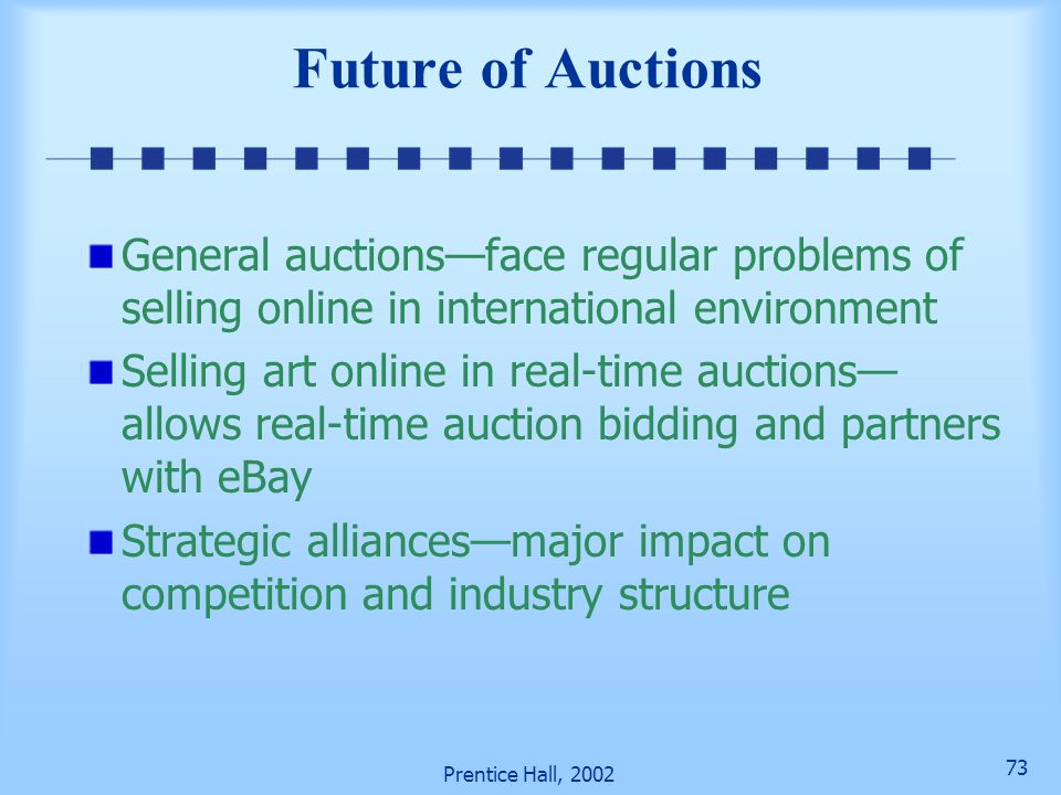 Future of Auctions General auctions—face regular problems of selling online in international environment.