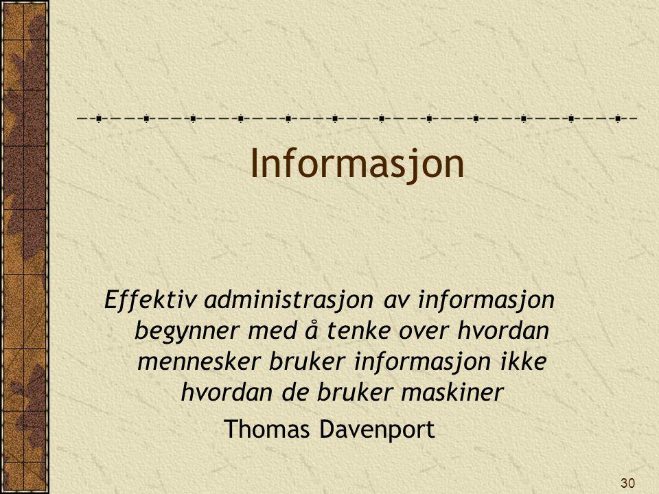 Informasjon Effektiv administrasjon av informasjon begynner med å tenke over hvordan mennesker bruker informasjon ikke hvordan de bruker maskiner.