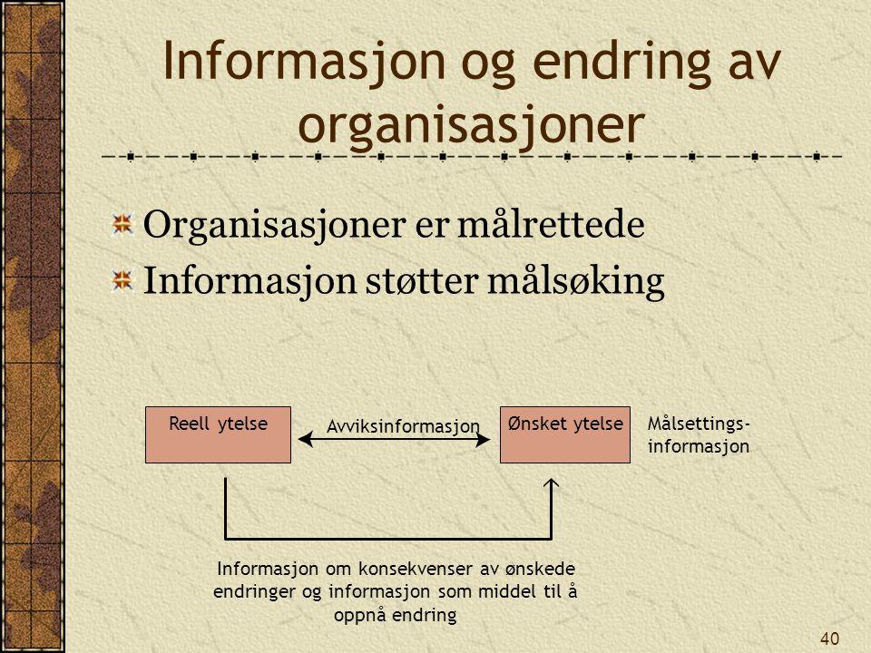 Informasjon og endring av organisasjoner