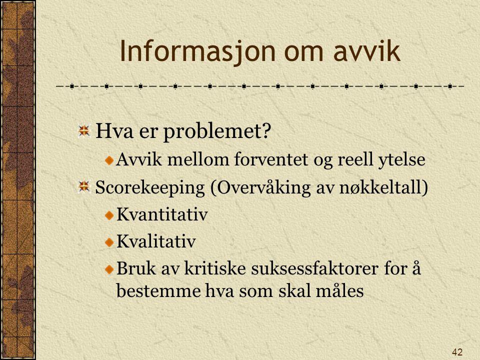 Informasjon om avvik Hva er problemet