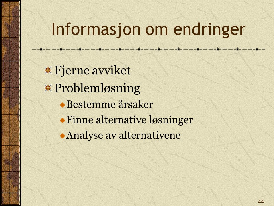 Informasjon om endringer