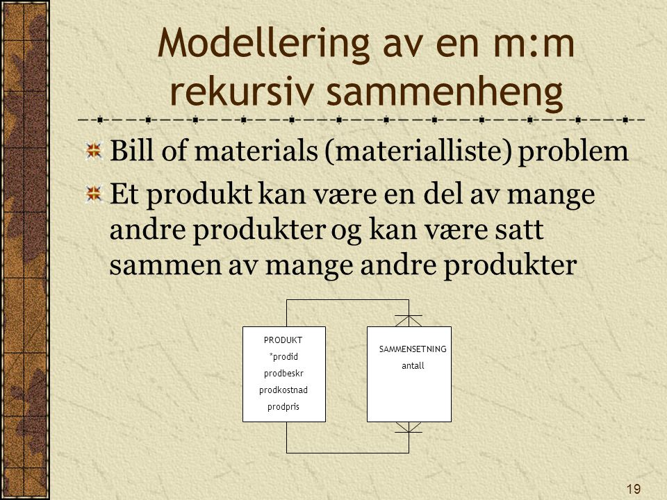 Modellering av en m:m rekursiv sammenheng