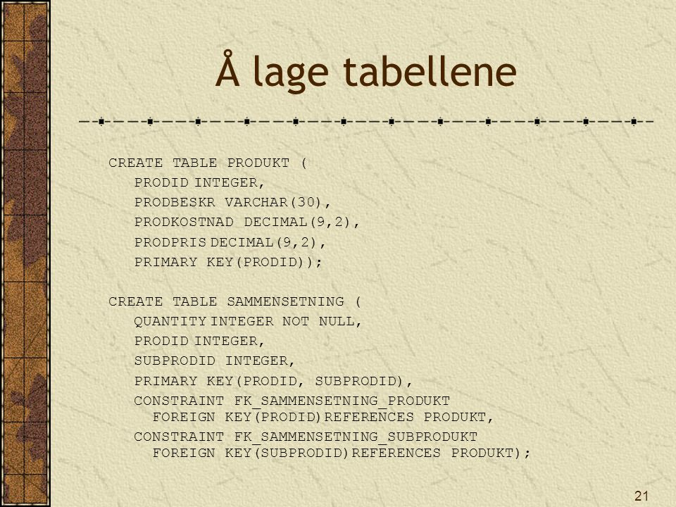 Å lage tabellene CREATE TABLE PRODUKT ( PRODID INTEGER,