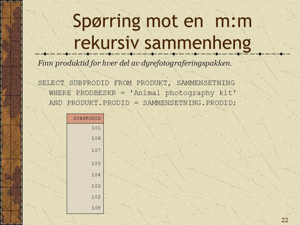 Spørring mot en m:m rekursiv sammenheng