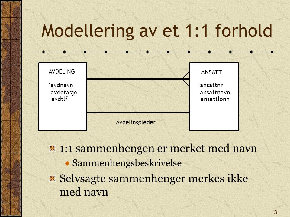 Modellering av et 1:1 forhold