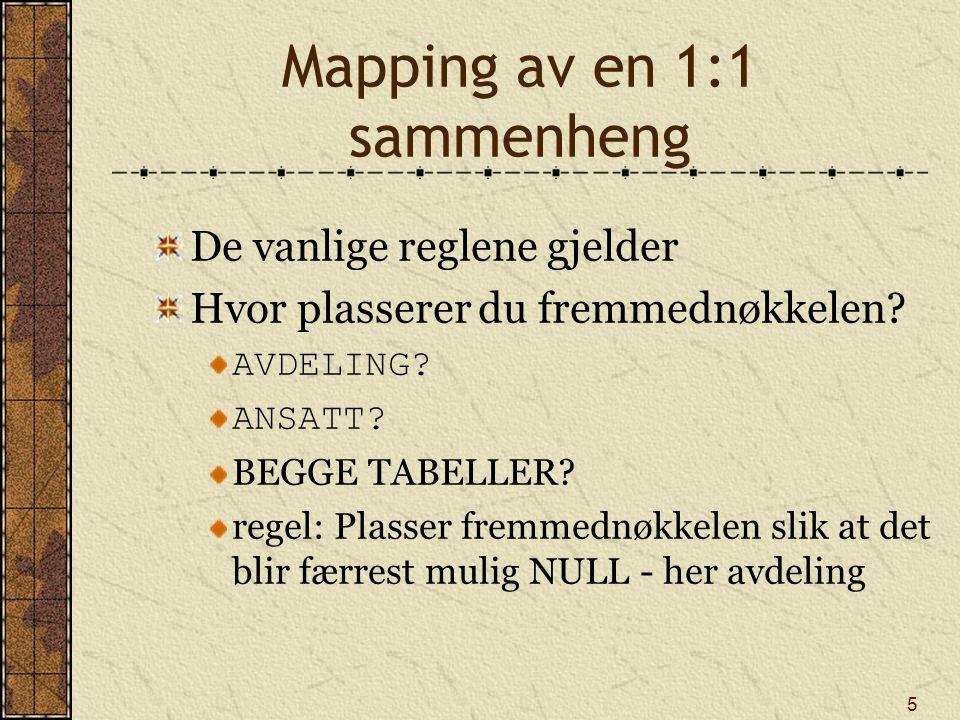 Mapping av en 1:1 sammenheng