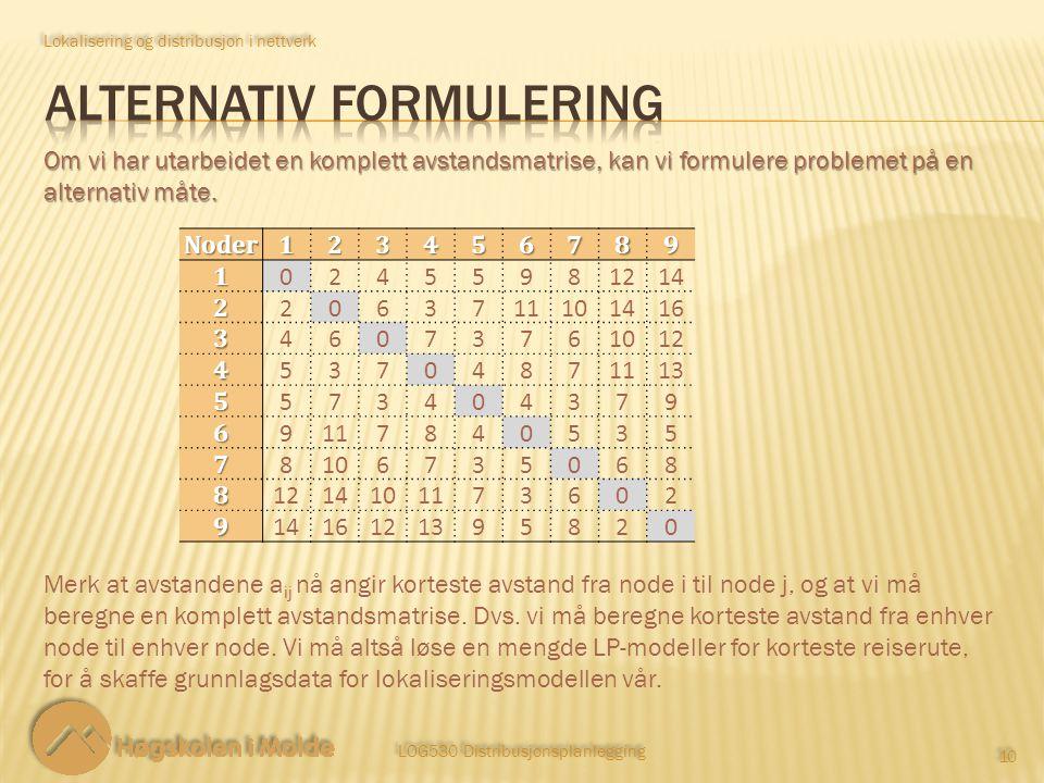 Alternativ formulering
