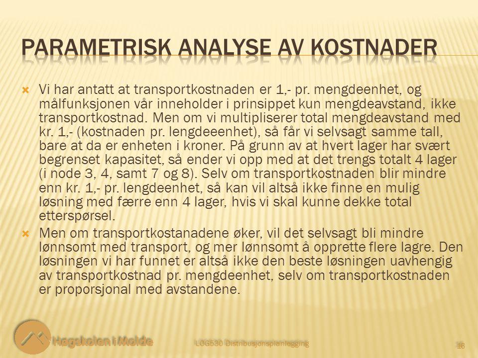 Parametrisk analyse av kostnader