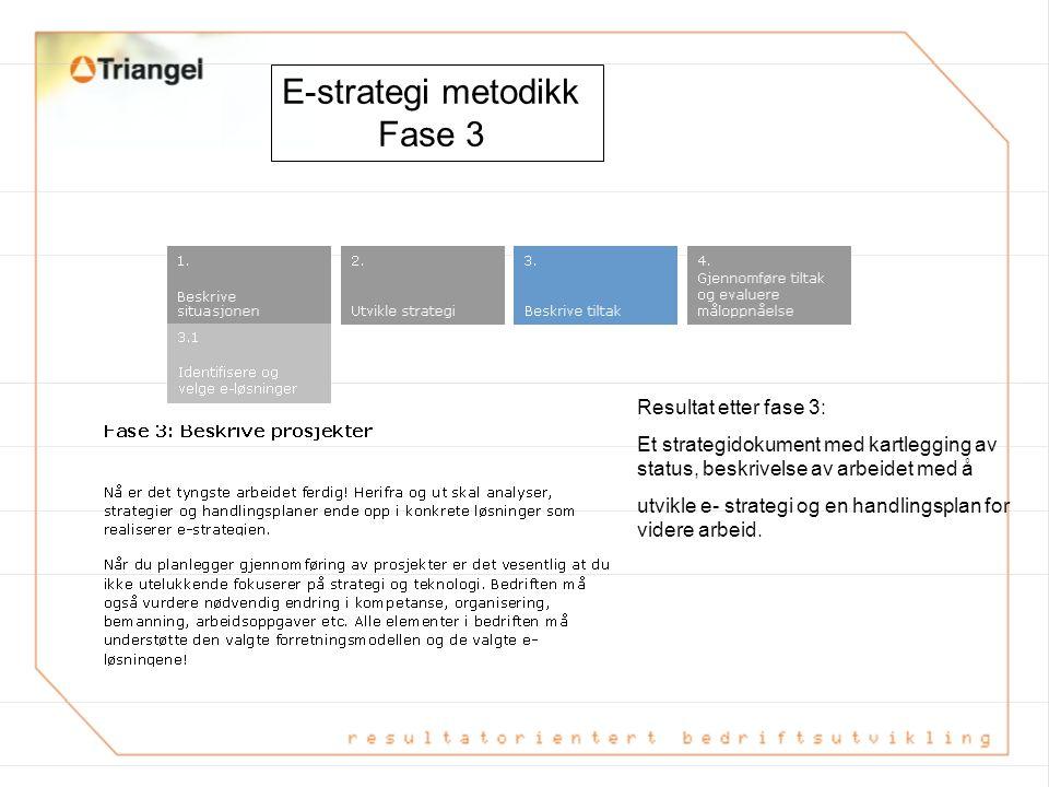 E-strategi metodikk Fase 3 Resultat etter fase 3:
