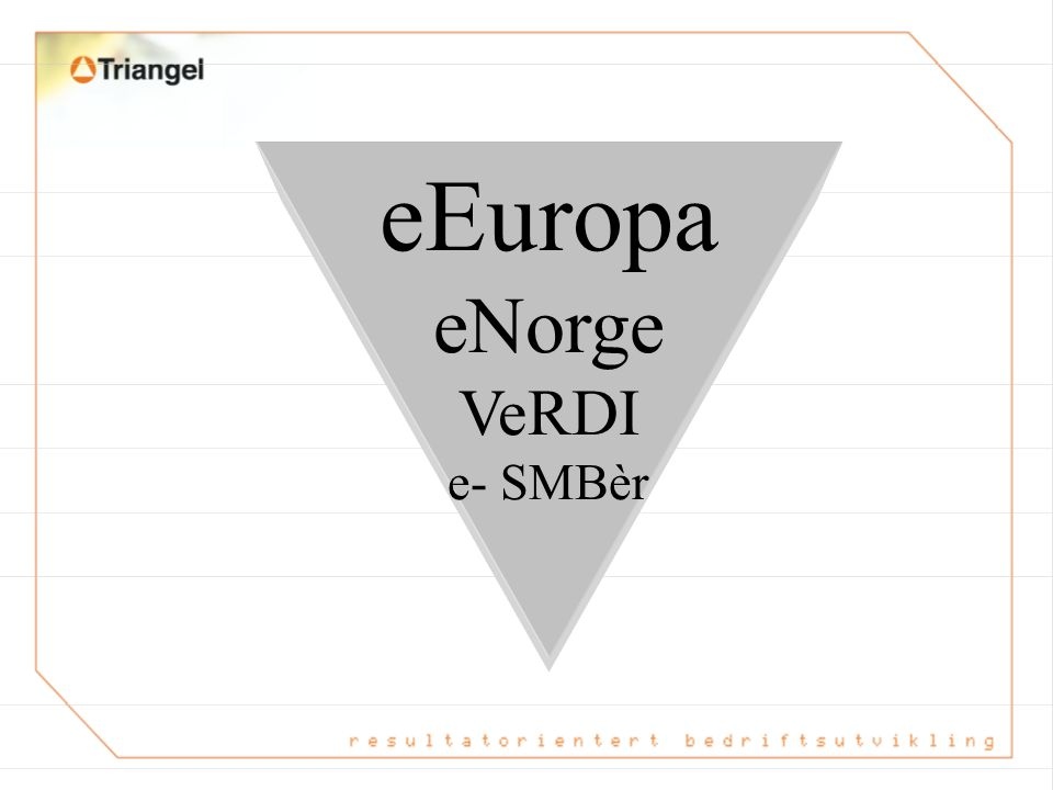 eEuropa eNorge VeRDI e- SMBèr