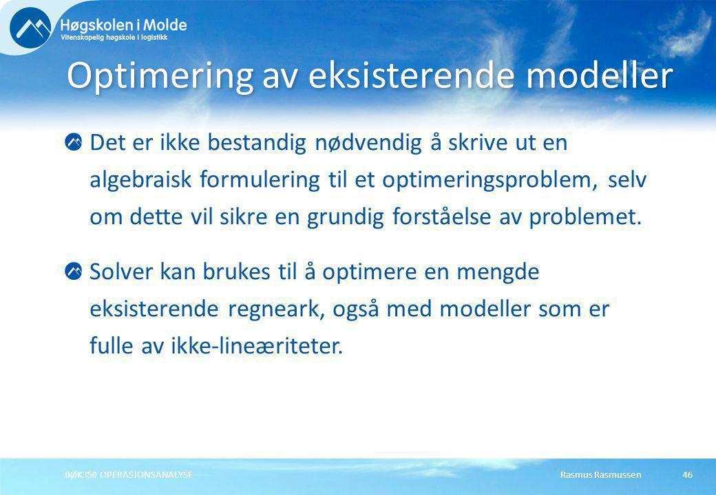 Optimering av eksisterende modeller