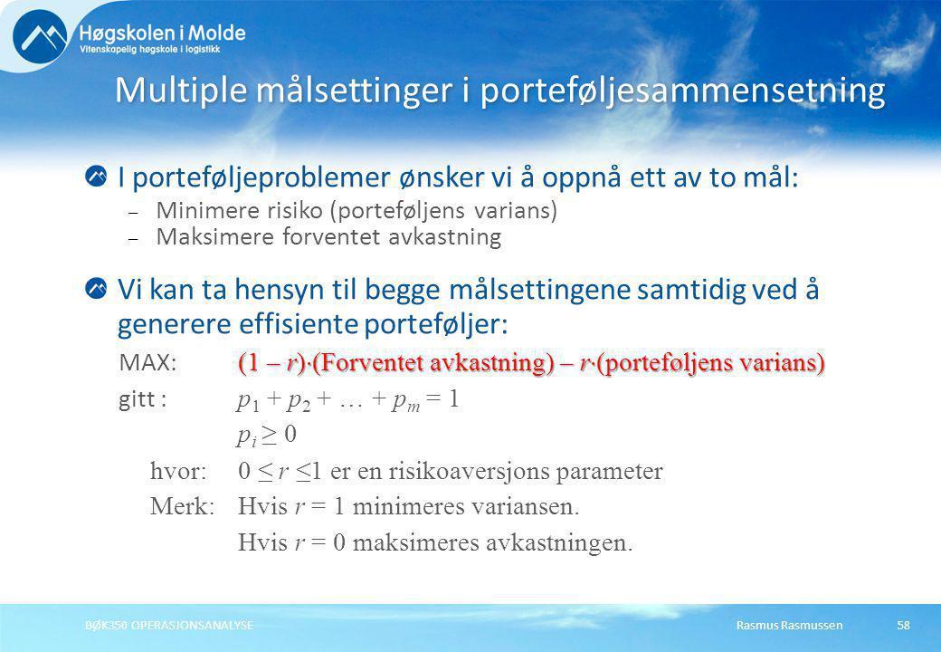 Multiple målsettinger i porteføljesammensetning