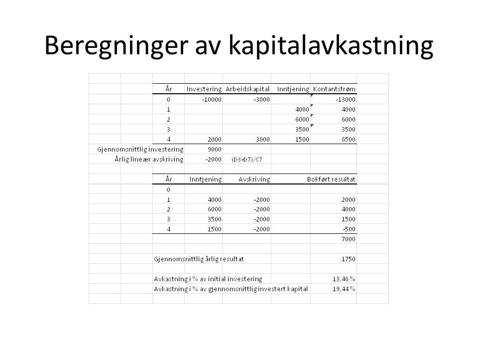 Beregninger av kapitalavkastning