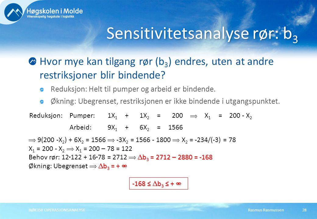 Sensitivitetsanalyse rør: b3