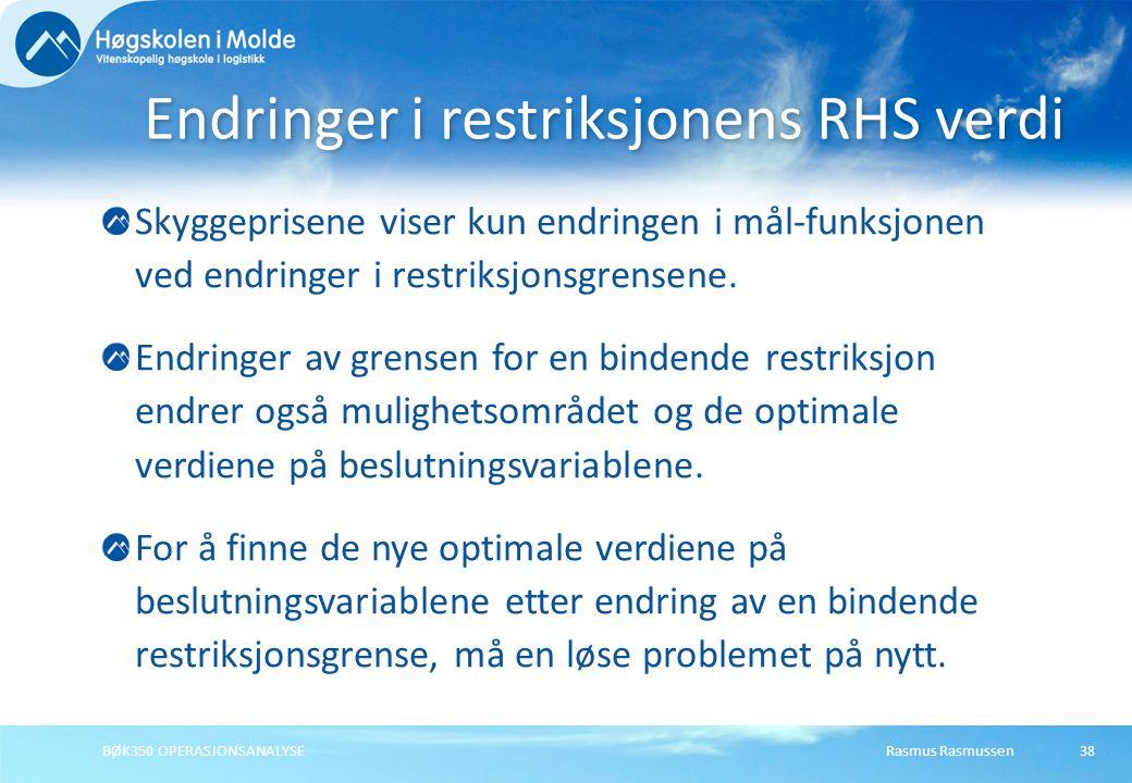 Endringer i restriksjonens RHS verdi