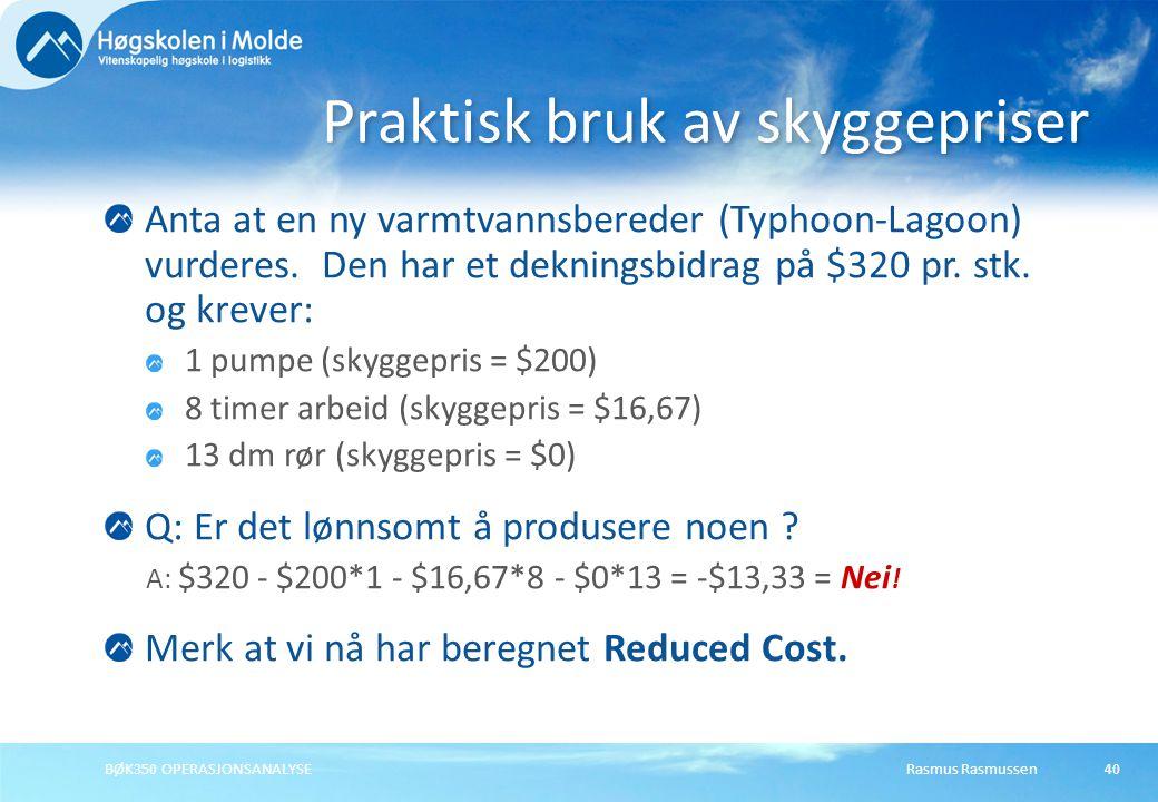 Praktisk bruk av skyggepriser