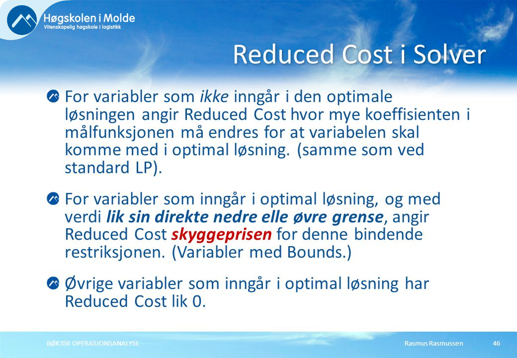 Reduced Cost i Solver