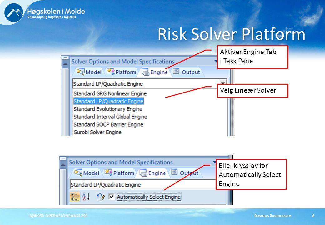 Risk Solver Platform Aktiver Engine Tab i Task Pane Velg Lineær Solver