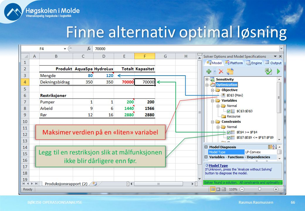 Finne alternativ optimal løsning