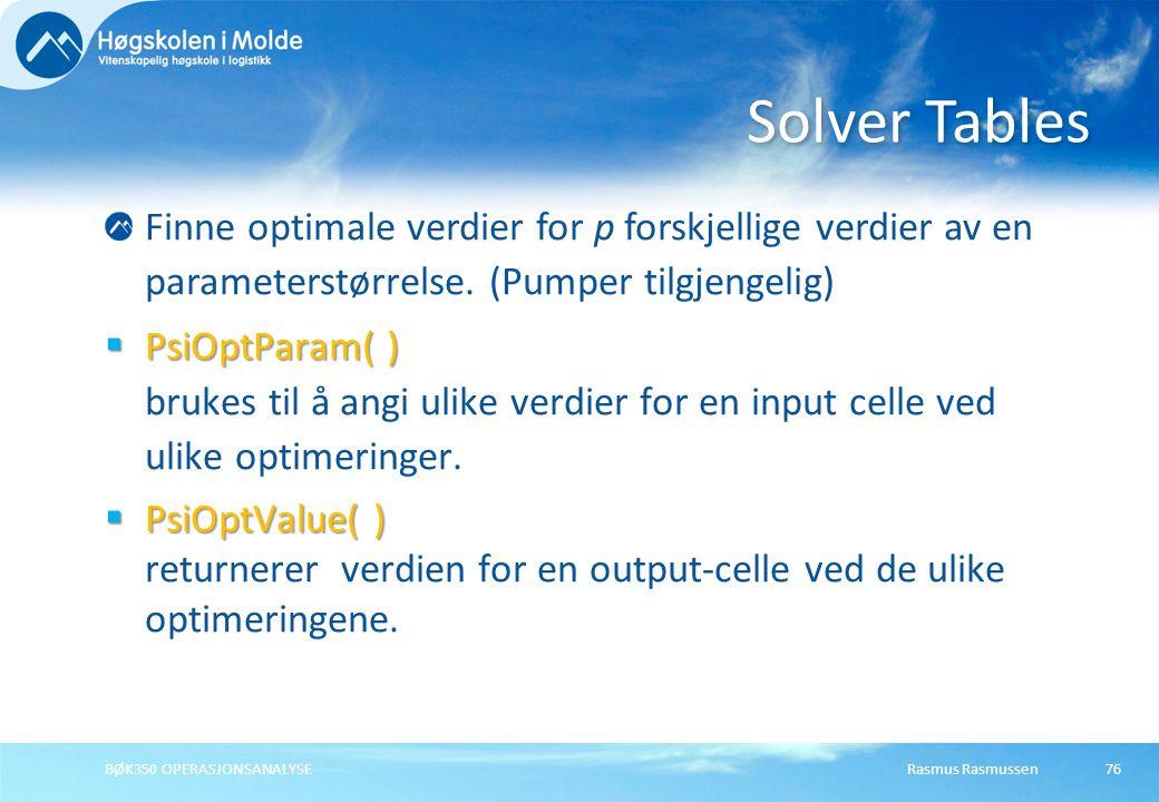 Solver Tables Finne optimale verdier for p forskjellige verdier av en parameterstørrelse. (Pumper tilgjengelig)