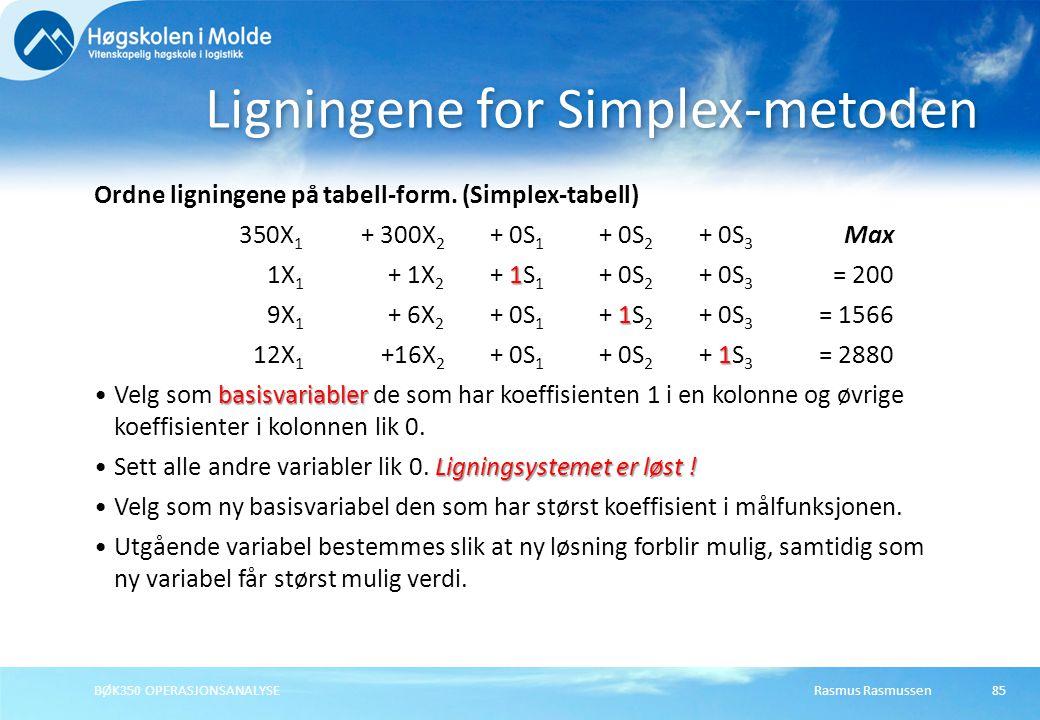 Ligningene for Simplex-metoden