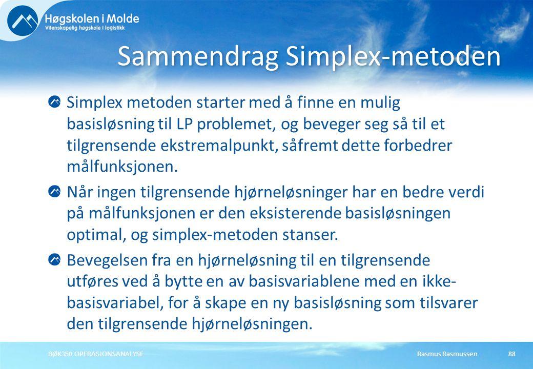Sammendrag Simplex-metoden